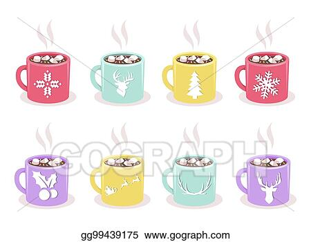 Clip Art Vector Vector Set Of Mugs With Cocoa Marshmallow Winter