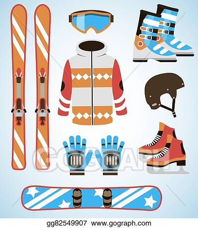 Vector Art Vector Set Of Ski And Snowboard Equipment Icons