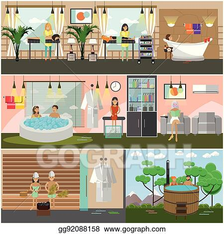 Vector Stock Vector Set Of Spa Therapy Concept Posters Banners Flat Style Stock Clip Art Gg92088158 Gograph