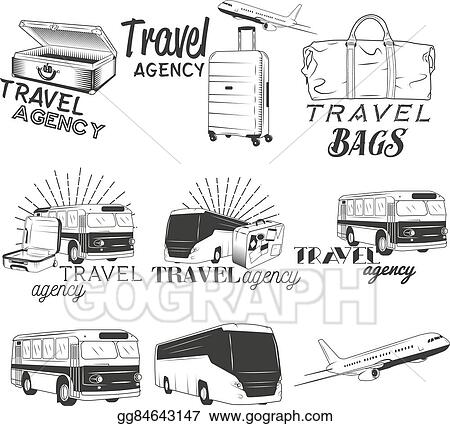 Vector Stock - Vector set of travel and transportation labels in