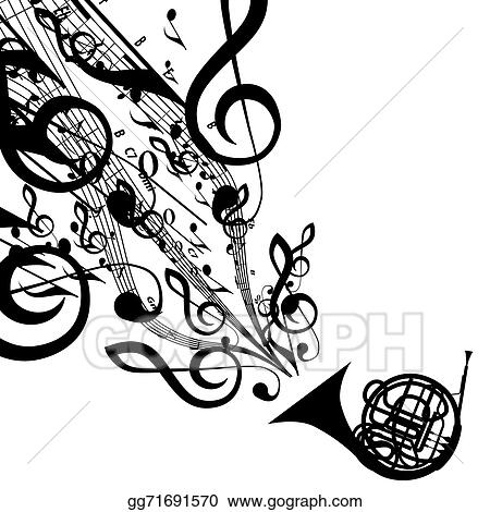 Vector Illustration Vector Silhouette Of French Horn With Musical