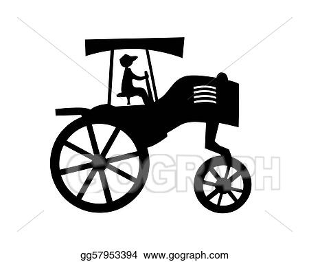 d31916de71c Vector Illustration - Vector silhouette of the old tractor on white ...