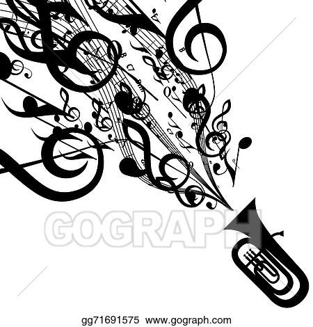 Vector Art Vector Silhouette Of Tuba With Musical Symbols Eps