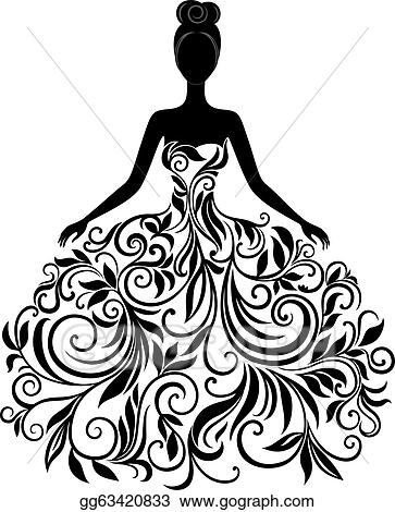 Eps Vector Vector Silhouette Of Young Woman In Dress Stock