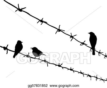 Clip Art Vector - Vector silhouette three birds on barbed wire ...