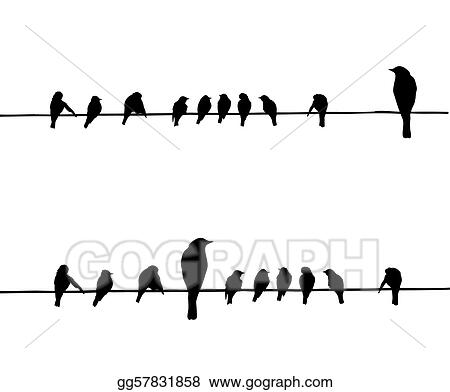 Vector Art - Vector silhouettes of the birds on wire. Clipart ...