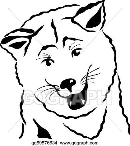 eps vector vector sketch akita inu japanese dog stock clipart rh gograph com Pet Clip Art Puppy Silhouette Clip Art