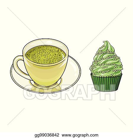 vector stock vector sketch cup of mathca tea cupcake stock clip art gg99036842 gograph gograph