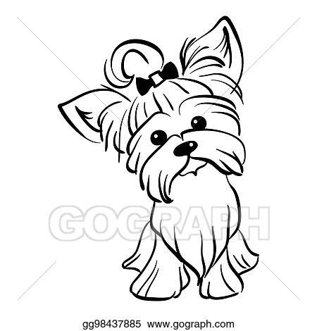 Vector Illustration Vector Sketch Funny Yorkshire Terrier Dog