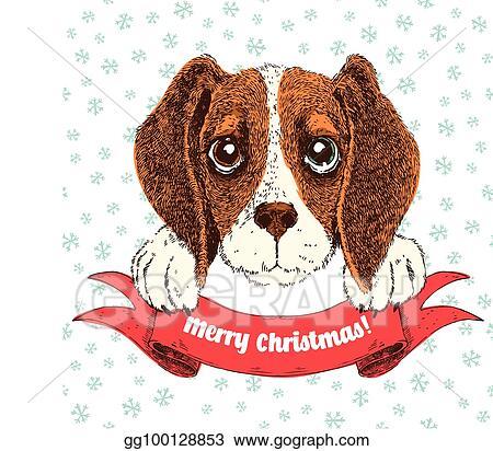 Christmas Beagle Clipart.Eps Vector Vector Sketch Illustration Of Funny Beagle