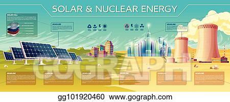 Vector Illustration Vector Solar Nuclear Energy Industry