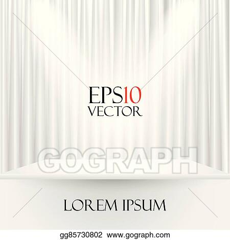 White Curtain Background Vector Realistic With Mirror Reflection Source Clipart Stage Eps Illustration