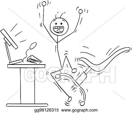 vector illustration vector stick man cartoon of happy man celebrating a success in front of the computer stock clip art gg98126315 gograph https www gograph com clipart license summary gg98126315