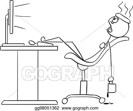 Eps Vector Vector Stick Man Cartoon Of Man Sitting Exhausted In