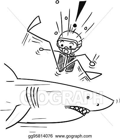 Vector Art Vector Stick Man Cartoon Of Scuba Diver Meet Large