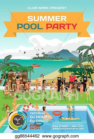 vector stock vector summer pool party invitation beach style day