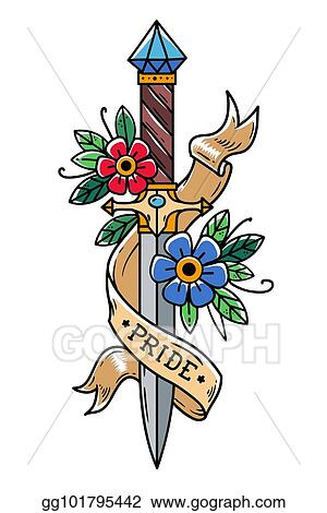 2c56866c7 Vector tattoo dagger with flowers and ribbon. Ancient oriental dagger  decorated with large sapphire. Lettering Pride.