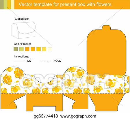Stock Illustrations - Vector template for present box with flowers ...
