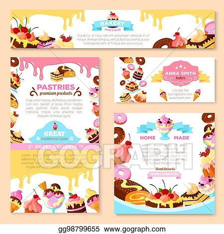 Vector Art Vector Templates Of Bakery Shop Or Cafe Patisserie Eps Clipart Gg98799655 Gograph