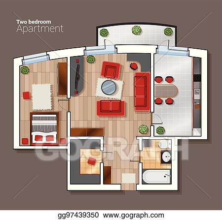 Vector Top View Floor Plan Of The House Room Modern Dining Bedroom And Bathroom Interior With Furniture