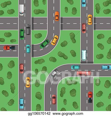 Vector Illustration - Vector top view highways with cars and