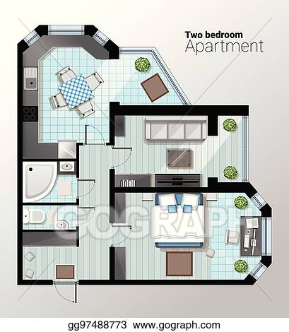 Vector Art Vector Top View Illustration Of Modern Two Bedroom