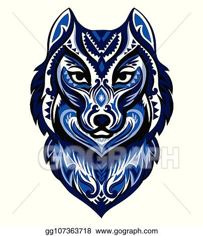 fc3204dfb Vector Clipart - Vector tribal style wolf totem tattoo with ...