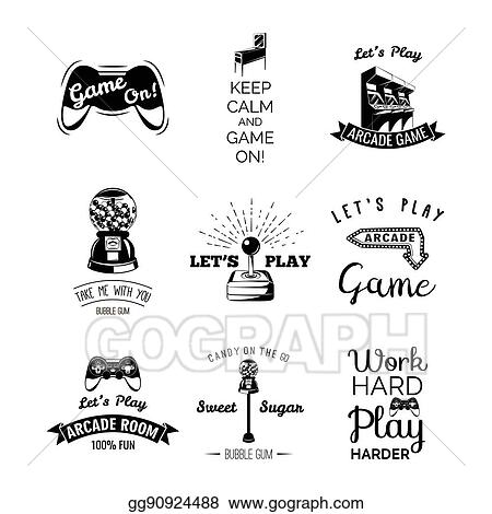 Vector Art - Vector video games labels set  arcade game room