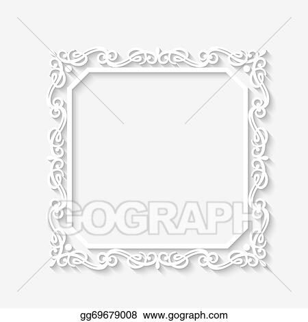 Vector Art - Vector vintage baroque white frame. Clipart Drawing ...