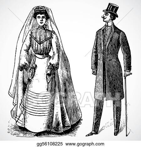 Vector Vintage Bride And Groom