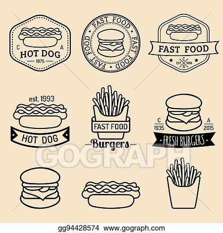 EPS Vector - Vector vintage fast food logos set. retro eating signs ...
