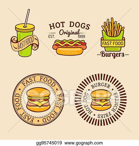 EPS Vector - Vector vintage fast food logos set. retro eating signs ...