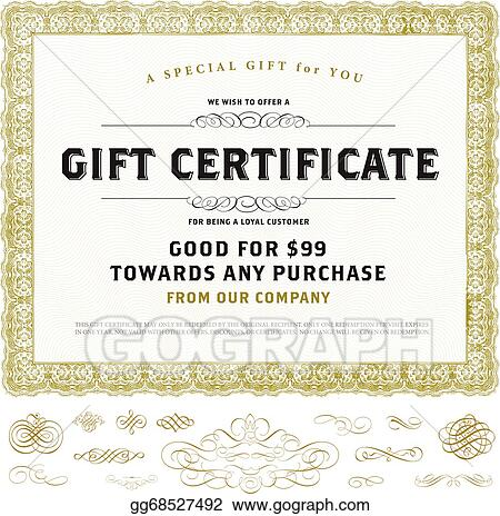 Vector Clipart Vector Vintage Gift Certificate Template With Gold