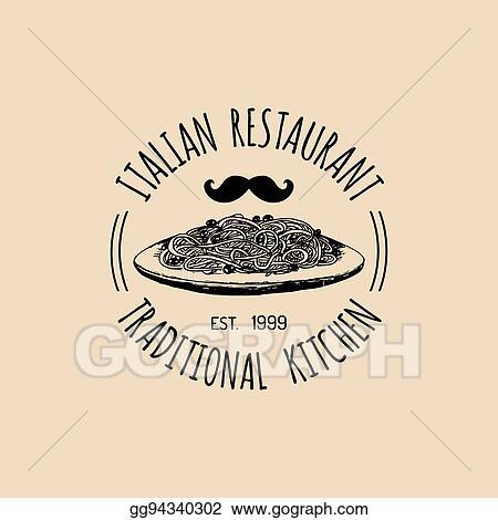 Vector Stock Vector Vintage Hipster Italian Food Logo