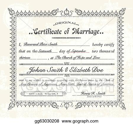 Eps Illustration  Vector Vintage Marriage Certificate Vector