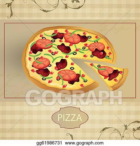 Pizza vintage. Vector art menu card