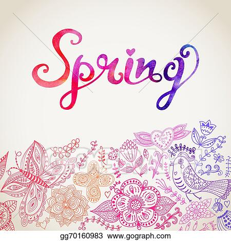 Vector clipart vector watercolor floral greeting card with spring vector watercolor floral greeting card with spring lettering vintage retro background with floral ornament you can design cards notebook cover and so on m4hsunfo