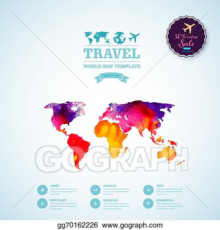 Vector stock vector watercolor map web and mobile template vector watercolor map web and mobile template corporate website design web media backdrop travel blurred background calligraphy badge website icons gumiabroncs Choice Image
