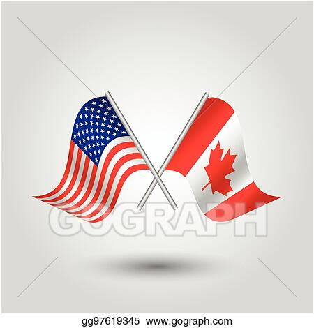 d12670bc5f9b Vector waving simple triangle two crossed american and canadian flags on  slanted silver pole - icon united states of america and canada