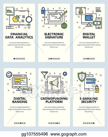 092156be2 Vector web site linear art onboarding screens template. Digital banking and  online money transfer. Finance and data analytics. Menu banners for website  and ...