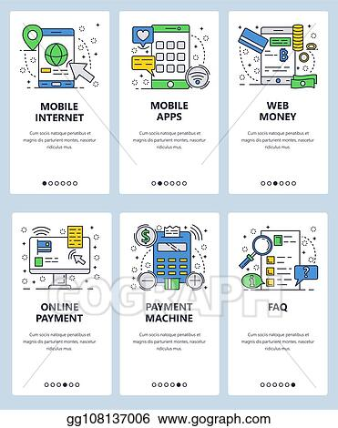 999db39eb Vector web site linear art onboarding screens template. Mobile apps and  internet online money payments. Menu banners for website and mobile app  development.