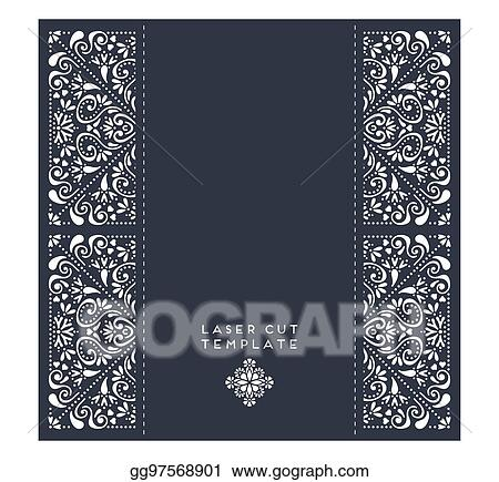 Vector Stock - Vector wedding card laser cut template. Stock Clip ...