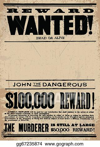 clip art vector vector western wanted reward poster template