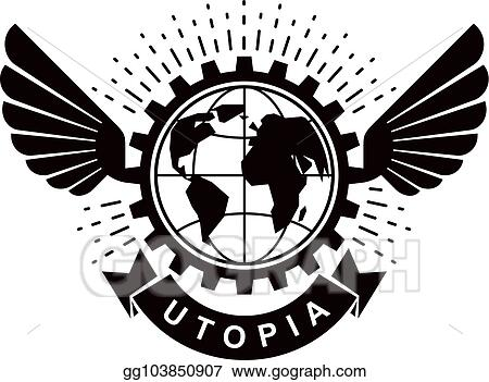 Vector Illustration Vector Winged Logo Composed Using Earth Globe
