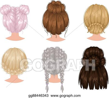 Vector Art Vector Woman Hairstyle Back View Clipart Drawing