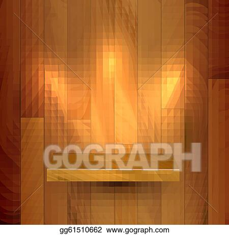 Vector Wooden Empty Realistic Bookshelf