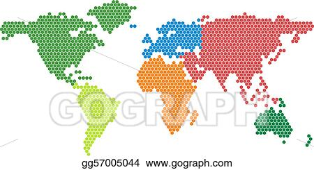 Vector stock vector world map with colored conti clipart vector world map with colored conti gumiabroncs Choice Image