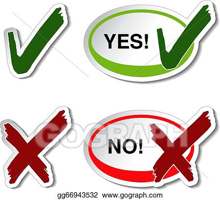Vector Illustration Vector Yes No Button Check Mark Symbol Eps