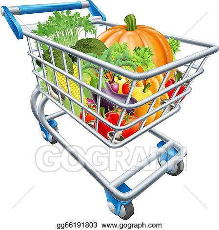 vector art vegetable shopping cart trolley clipart drawing rh gograph com supermarket trolley clipart clipart trolley car
