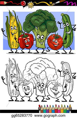 EPS Illustration - Vegetables comic group for coloring book ...